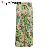 Women Pants 100%Real Silk Crepe Print Wide Leg Pants Elastic Waist Holiday Loose Ankle length Pants 2019 New Summer Trousers