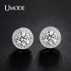 UMODE Brand Designer Fashion Popular Crystal Stud Earrings for Women White Gold Color Round CZ Boucle D'Oreille Hot Gift AUE0259