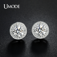 UMODE Brand Designer Fashion Popular Crystal Stud Earrings for Women White Gold Color Round CZ Boucle DOreille Hot Gift AUE0259