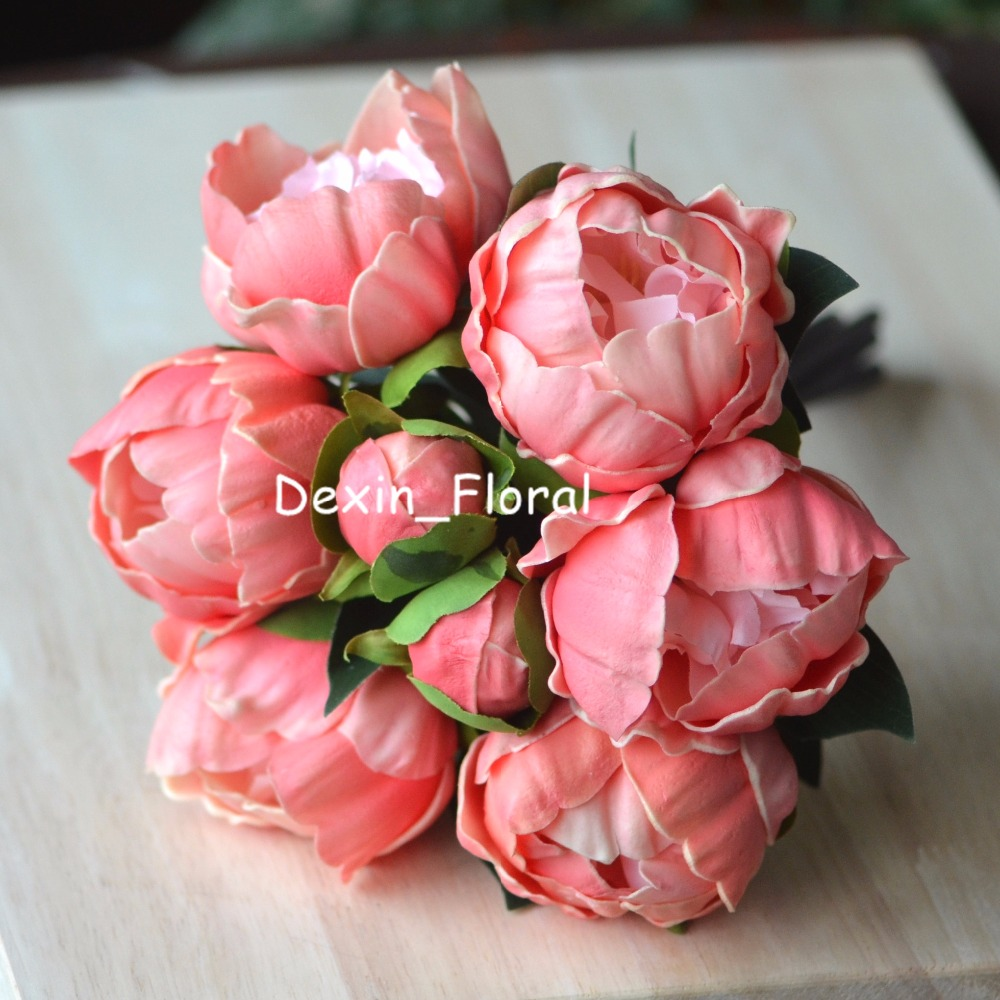 2 Bundles Coral Peonies Real Touch Peonies For Diy Wedding Bouquets