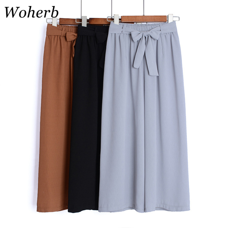 Woherb 2019 Summer Thin Chiffon   Wide     Leg     Pants   Women Casual Solid High Waist   Pant   Korean Plus Size   Pants   Female Trousers 21070