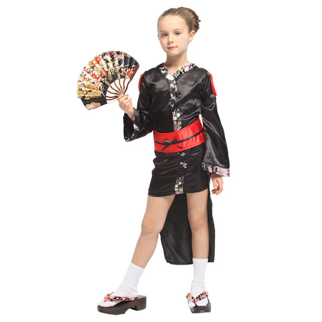 Japanese Traditional Kimono Robe Kids Child Geisha Girl Costume Cosplay Halloween Carnival Mardi Gras Party Fancy Dress 2