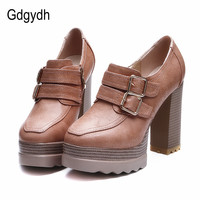 2016 New Spring And Autumn Thick High Heeled Pumps Round Toe Lacing Female Platform Shoes Casual