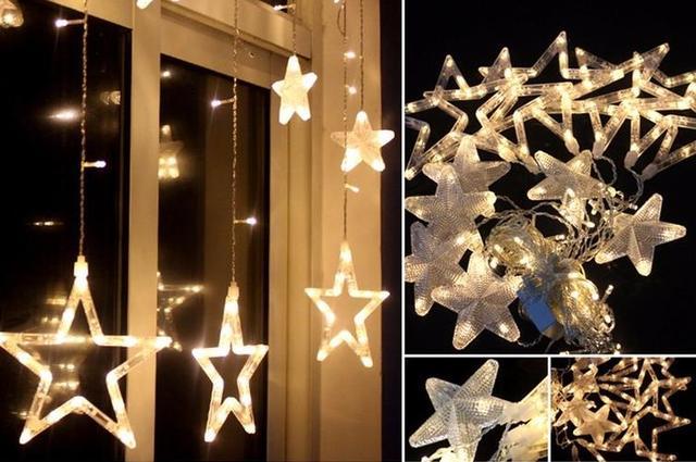 glow lichtgevende ster string gordijn verlichting gordijn party bruiloft kerst raam deur hanger lamp fairy light