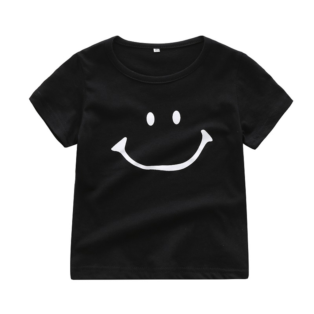 2019 Newborn Baby Kids Boy Girl Smile Cartoon Short Sleeve T-shirt Tee Tops Clothes tee shirt enfant Футболка детская#PY25 Сникеры