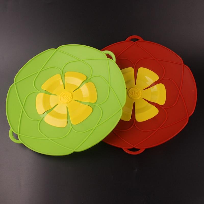 Madlavningsdæksel redskaber Anti-overløb silikone pot dække medium grønt og rødt låg silikon dækning pot låg 26 * 28cm køkken Gadgets