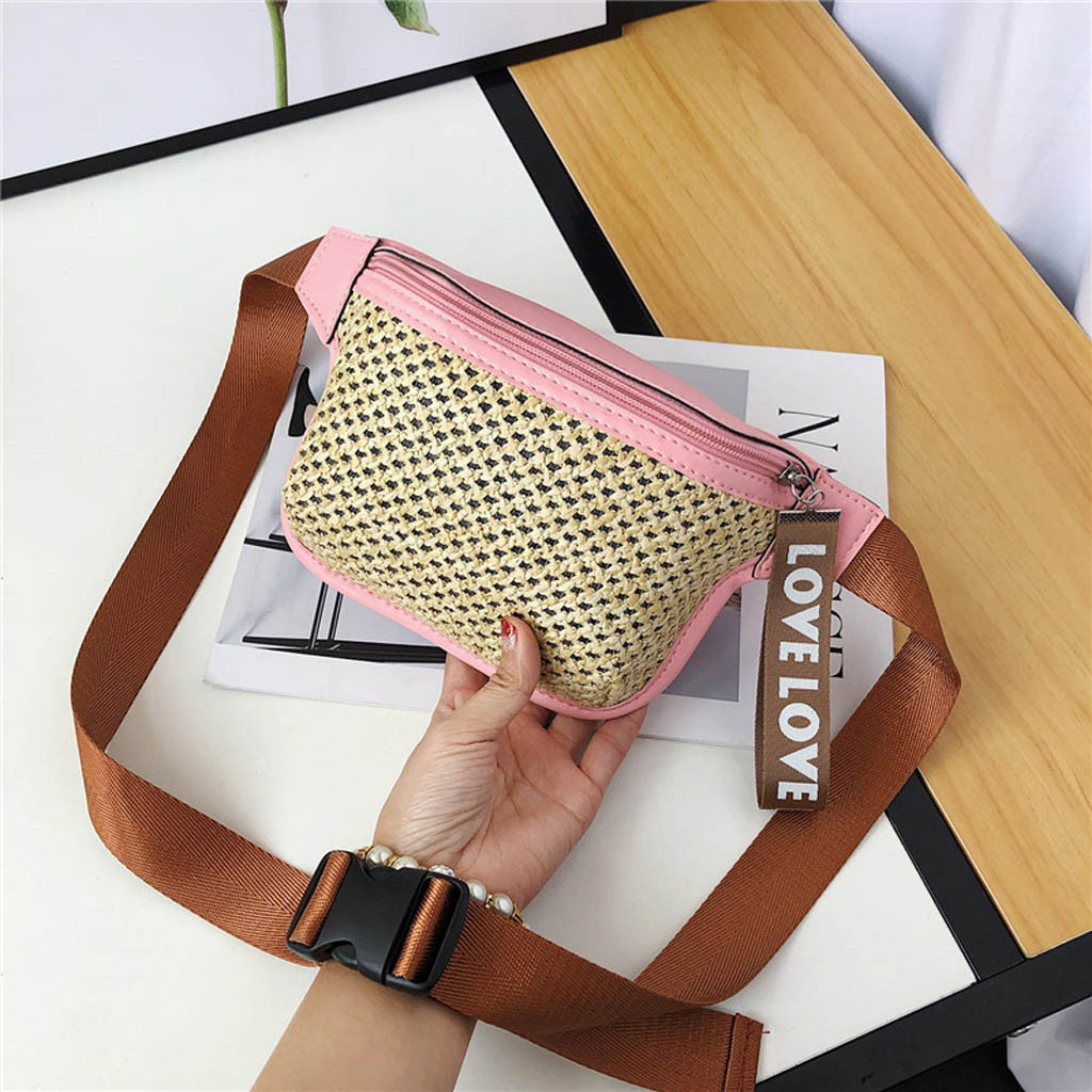 Fashion Lady Classic Woven Casual Wild Waist Bag Messenger Chest Small Square 7.17