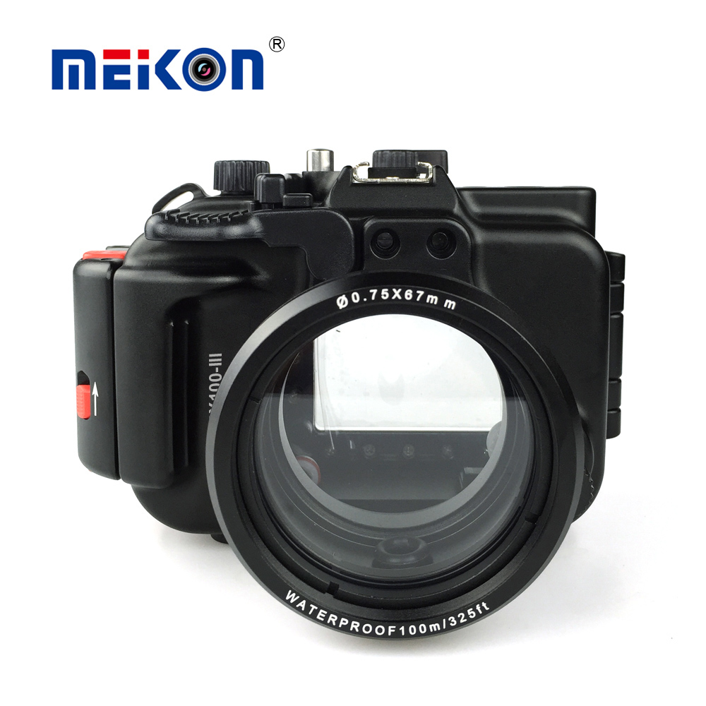 Meikon Aluminum camera housing for diving 100M/325ft underwater waterproof Aluminum camera case for Sony RX100 III / RX100 M3 40m 130ft waterproof underwater camera diving housing case aluminum handle for sony a7 a7r a7s 28 70mm lens camera