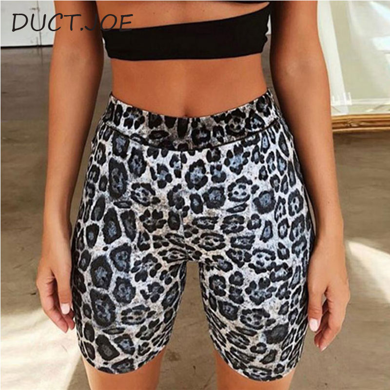 DUCTJOE New Leopard Sexy Biker Shorts For Women Fitness Active Wear High Waist Cycling Shorts Push Up Sexy Fashion Shorts