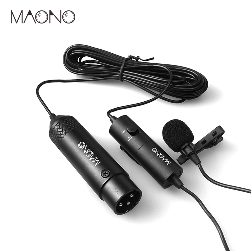 MAONO Lavalier Microphone XLR Omnidirectional Condenser Microphone Clip on Lapel Mic For DSLR Camera Camcorders Voice Recorders