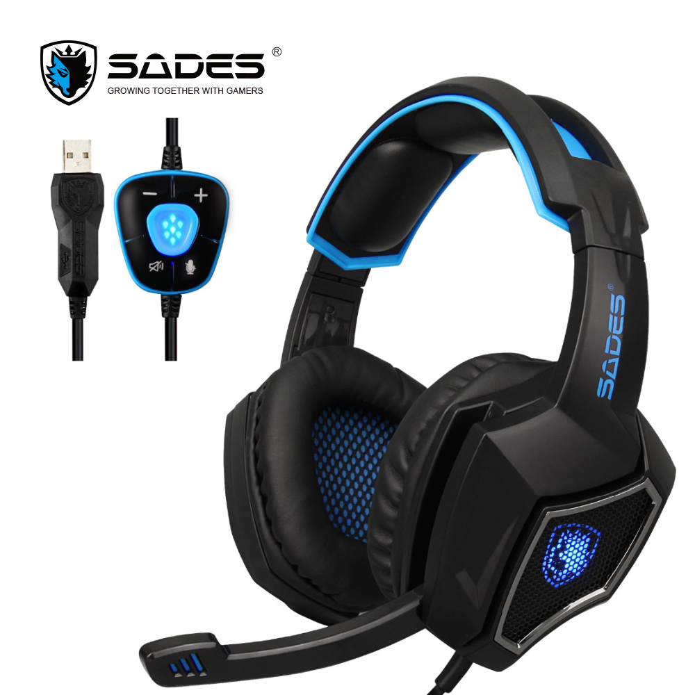 SADES Spirit Wolf 7.1 Surround Sound Stereo USB Gaming Headphone with Mic Breathing LED Light For PC Gamers usb 7 1 surround sound vibration stereo led gaming headsets headphone with mic for pc games