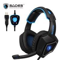 SADES Spirit Wolf 7 1 Surround Sound Stereo USB Gaming Headphone With Mic Breathing LED Light