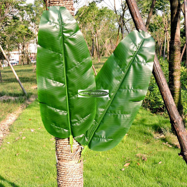 Large 75cm Latex Wedding Home Garden Decor Patio Outdoor Artificial Banana  Evergreen Plant Tree Leaf Branch