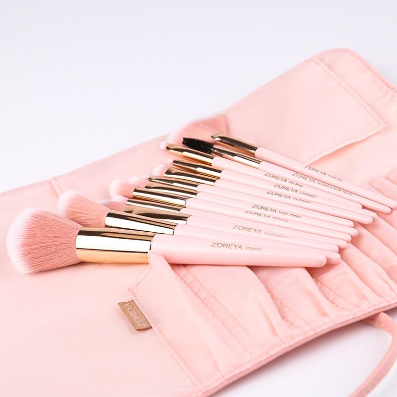 ZOREYA 12pcs Professional Makeup Brushes Super Soft Synthetic Hair Pink Handle Make Up Brush Blending Concealer Lip Beauty Tools 1