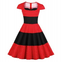 Dot Print Vintage Dress Women Spring Pin Up Dresses Hupburn 50 S Rockabilly Casual Party Dresses Vestidos Mujer