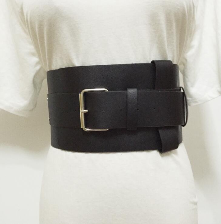 Women's Runway Fashion PU Leather Cummerbunds Female Dress Corsets Waistband Belts Decoration Wide Belt R1528