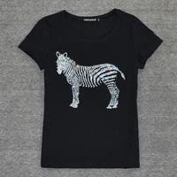 New Girl Design Diamond Zebra Animal Horse Print Casual T Shirt Stretch Plus Size Female Shirt