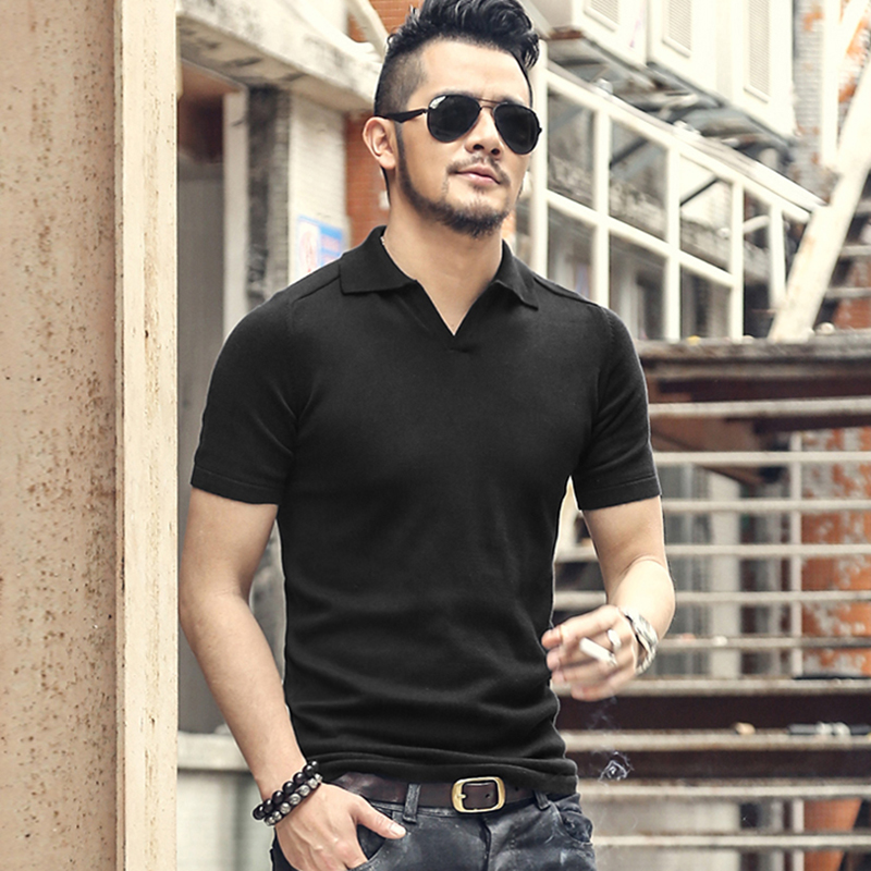 Men summer casual cotton knitted   polo   men solid turn-down collar high quality   polo   shirt men fashion British style hot sale J614