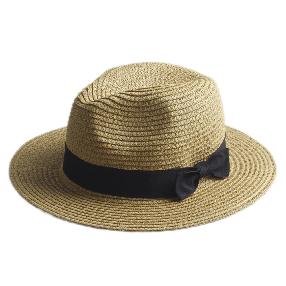 Women Summer straw Sun hat Boho Beach wide Brim Fedora hat Sunhat Trilby  panama Hat Gangster sombrero Cap 20-in Sun Hats from Apparel Accessories on  ... 96f52d93e824