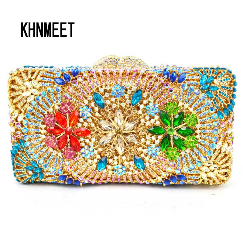 Multicolor rhine stone Crystal Clutch Evening Party Prom banquet pochette Purse Evening Bag elegant Clutch Purse women Handbags luxury crystal clutch handbag women evening bag wedding party purses banquet