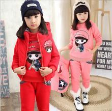Девушки одежда детей осенью и зимой одежда 2-12 лет детский костюм утолщение трех частей наборы HB2052