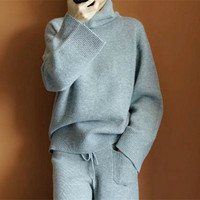 Leisure suit women's 2018 solid color cashmere sweater loose hooded turtle neck sweater trousers two piece set matching outfits
