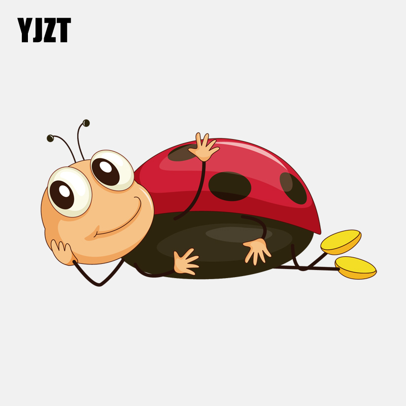 YJZT 14CM*7CM Funny Lying Ladybug Decal PVC Motorcycle Car Sticker  11-00824