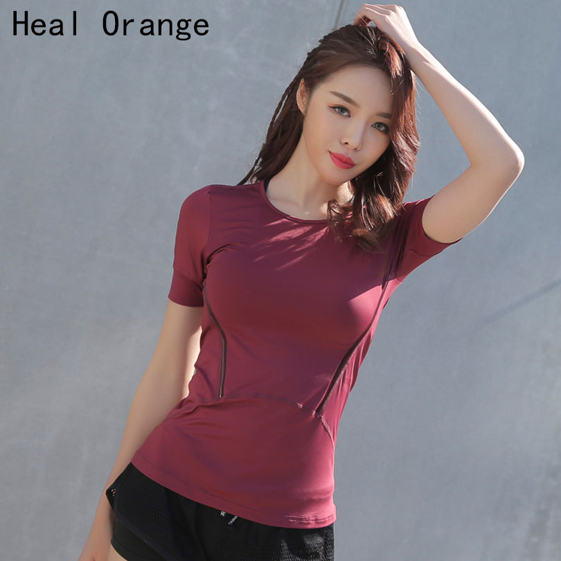 Professional Sport Running T Shirt for Women Dry Quick Gym Yoga Shirt Ladies Fitness Short Sleeve T-shirt Jogging Running Tops round neck stripe print fitted quick dry short sleeve men s t shirt suit t shirt shorts