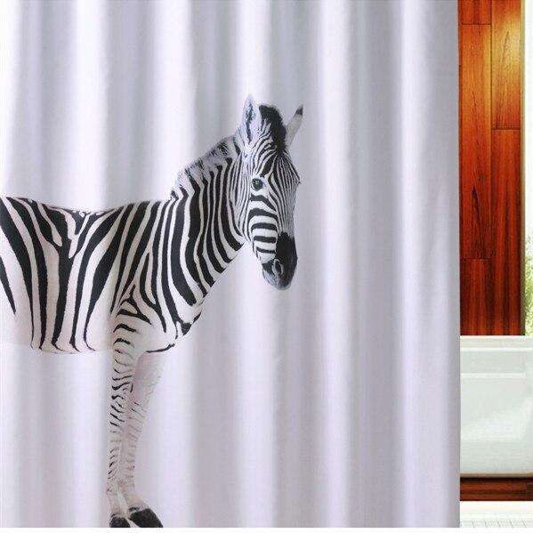 180*200 cm] Kreative zebra Stoff Bad Duschvorhang Liner w/Haken ...