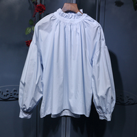 and sweet black fungus brought the bat type lantern sleeve blouse asymmetric shoulder hollow out loose shirt buttons