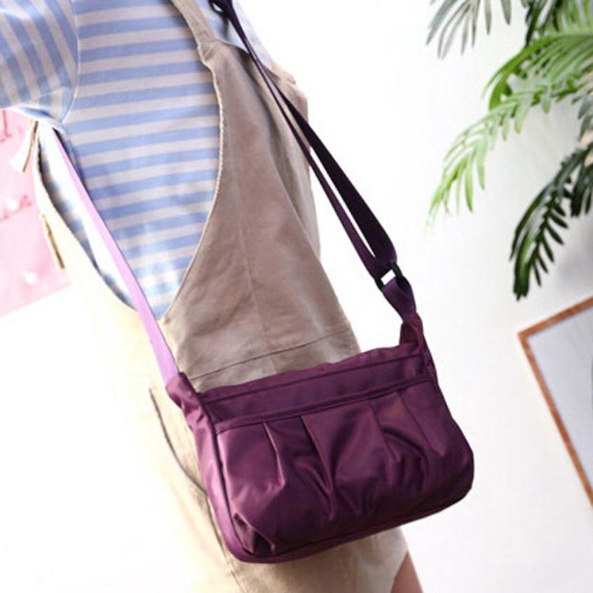 Женские Модные нейлон дикий плиссированные сумка ms. однотонная одежда молния сумка большой Ёмкость сумка # F