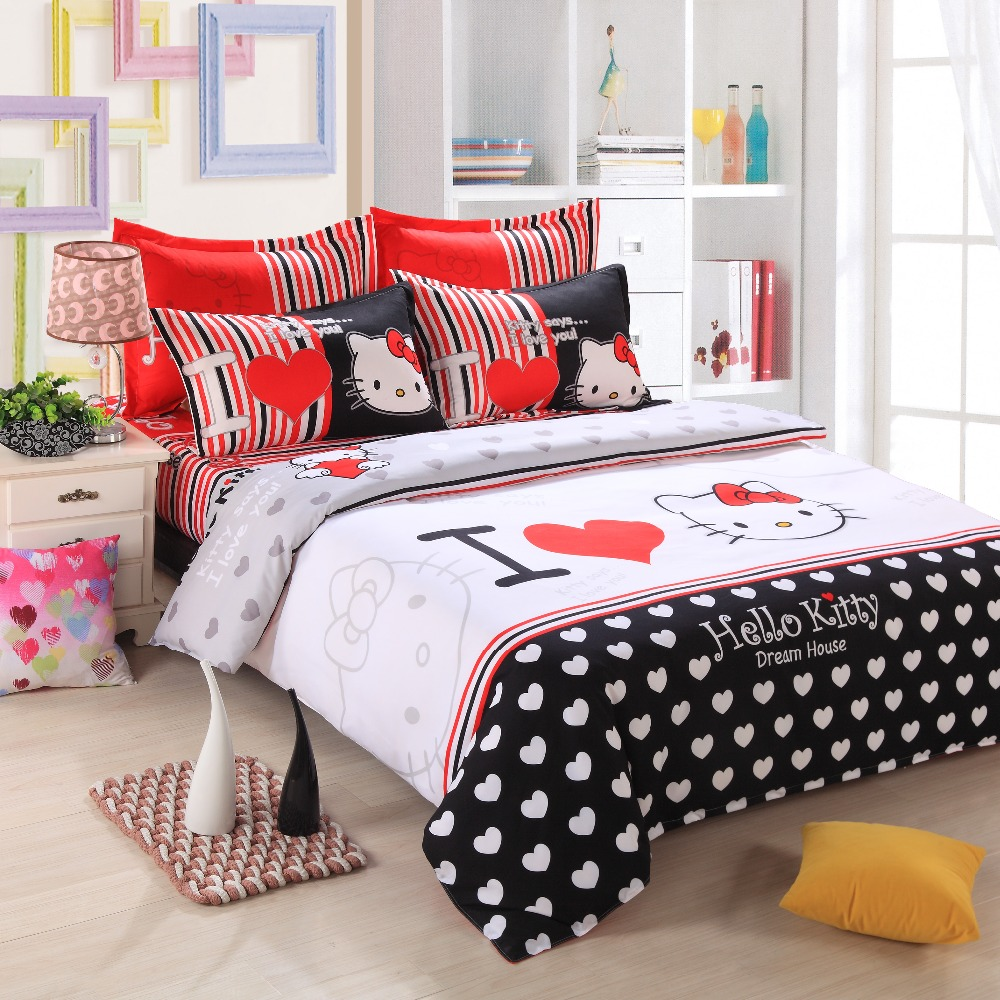 Bed sheet set black and white - Hello Kitty Bedding Set Kids Cartoon Red Black White Stripes Polyester Tawin Full Queen Size Bed