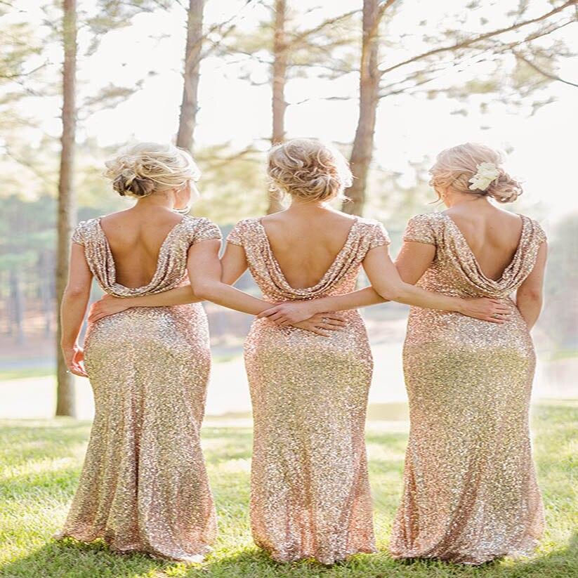 Rose Champagne Long vestido longo pailleté manches courtes longueur de plancher robe de demoiselle d'honneur 2018 robe de bal robe de soirée