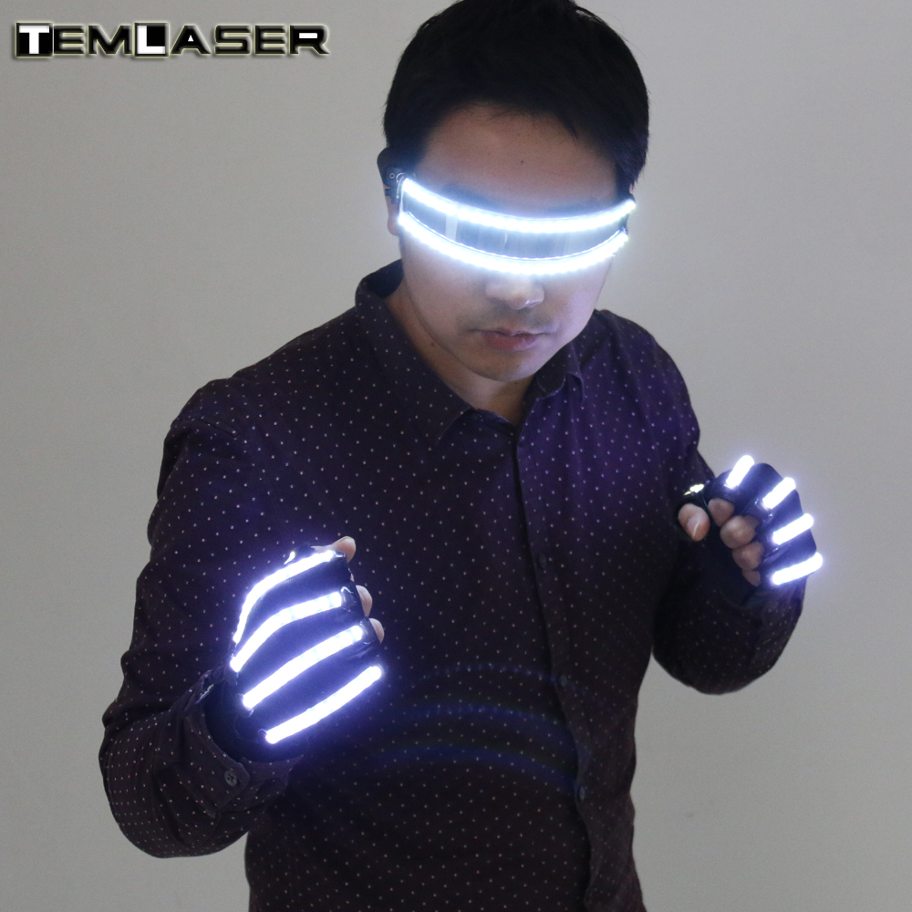 Free Shipping Bright LED Stage Costumes LED Gloves, Luminous LED Glasses , Laser Stage Props Party Supplies