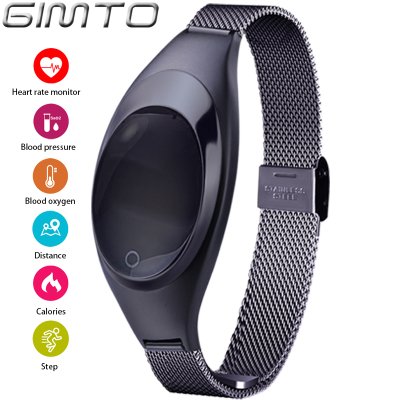 GIMTO Smart Watches Blood Pressure Heart Rate Monitor Sleep Pedometer Waterproof Digital Watch Bracelet Sport Watches For Women home care laser light therapy instrument wrist watch type reduce high blood pressure