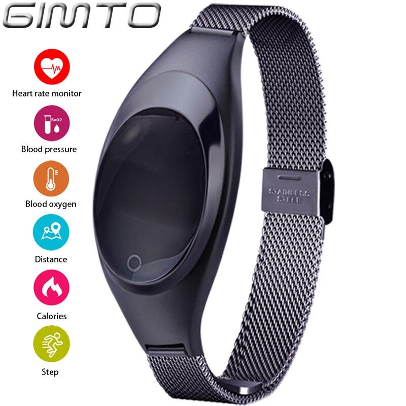 GIMTO Smart Watches Blood Pressure Heart Rate Monitor Sleep Pedometer Waterproof Digital Watch Bracelet Sport Watches For Women