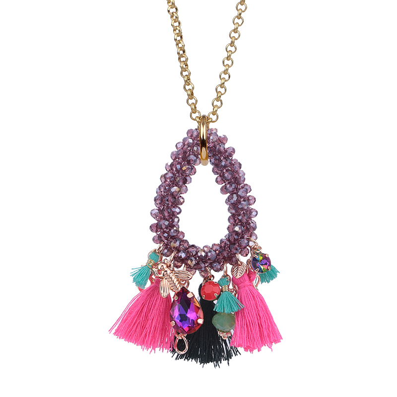 Choker necklace for woman boho Pendientes woman necklace tassel necklace (6)