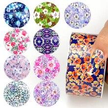 Rollo de papel de uñas 120 M láminas de uñas mezclado patrones de flores transferencia adhesivo decoración de uñas Consejos DIY diseño