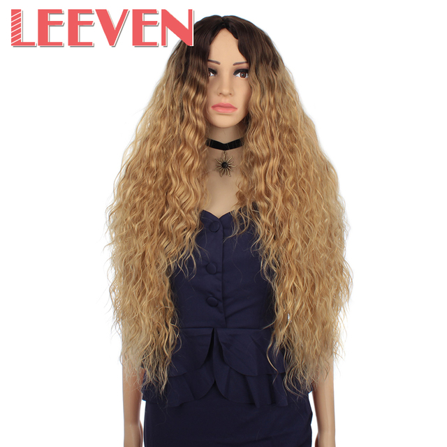 Leeven Hair Synthetic Ombre Blonde Black Red Wig 30 Inch Long Wavy African American Wigs For Women High Temperature Fiber
