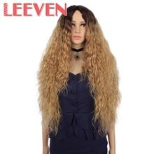 Leeven włosy syntetyczne Ombre blond czarna czerwona peruka 30 Cal długie faliste peruki afroamerykańskie dla kobiet wysokiej temperatury włókna