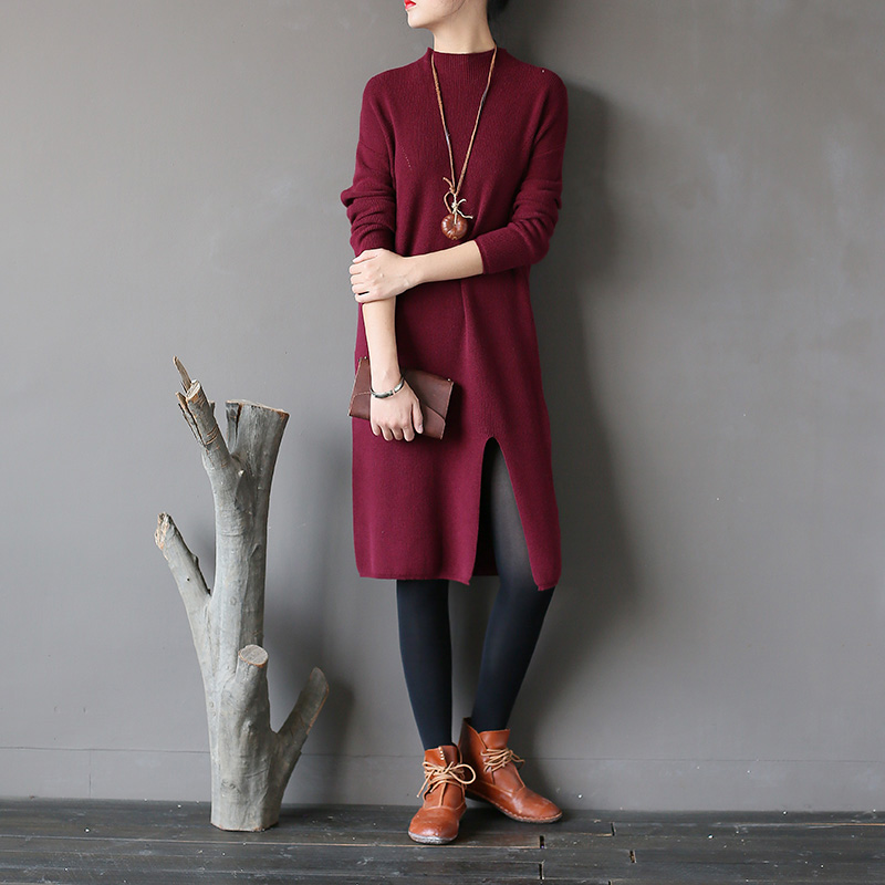 Knitted Dresses Woman Cashmere Sweaters Warm Winter Long Sleeve Office Sexy Slim Pullover Sweater Dress Femme Maxi Elegant Hiver