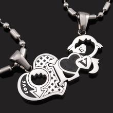 Dolaime Небольшой Любовь Мальчик и Девочка Полые форме сердца литой панк любители из нержавеющей стали Высокого качества ожерелье GP1986