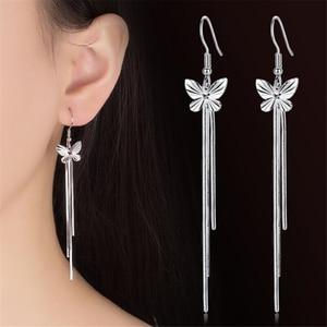 NEHZY 925 sterling silver new Woman Female ear wire fashion long section of the Drop Earrin butterfly tassel fashion jewelry