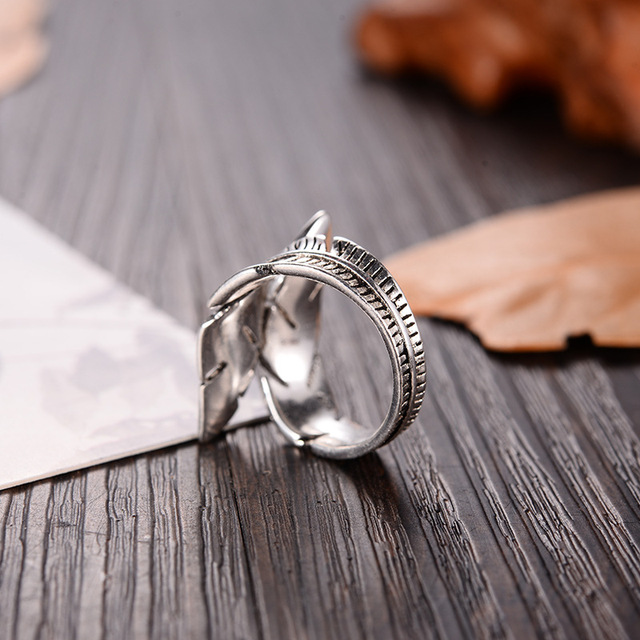 2019 Bijoux Fashion Real Silver Color Feather Rings for Women Boho Adjustable Antique Rings Anillos 3