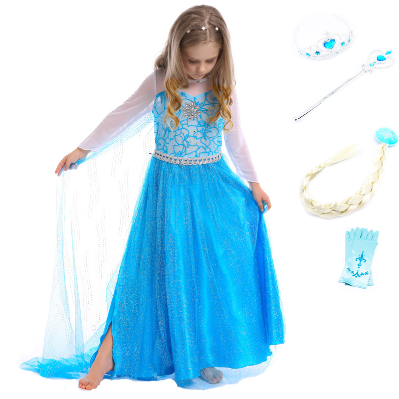 Elsa Dress Costume Princess Party Vestidos Cosplay Girl Clothing Anna Snow Queen Print Birthday halloween Christmas Costume