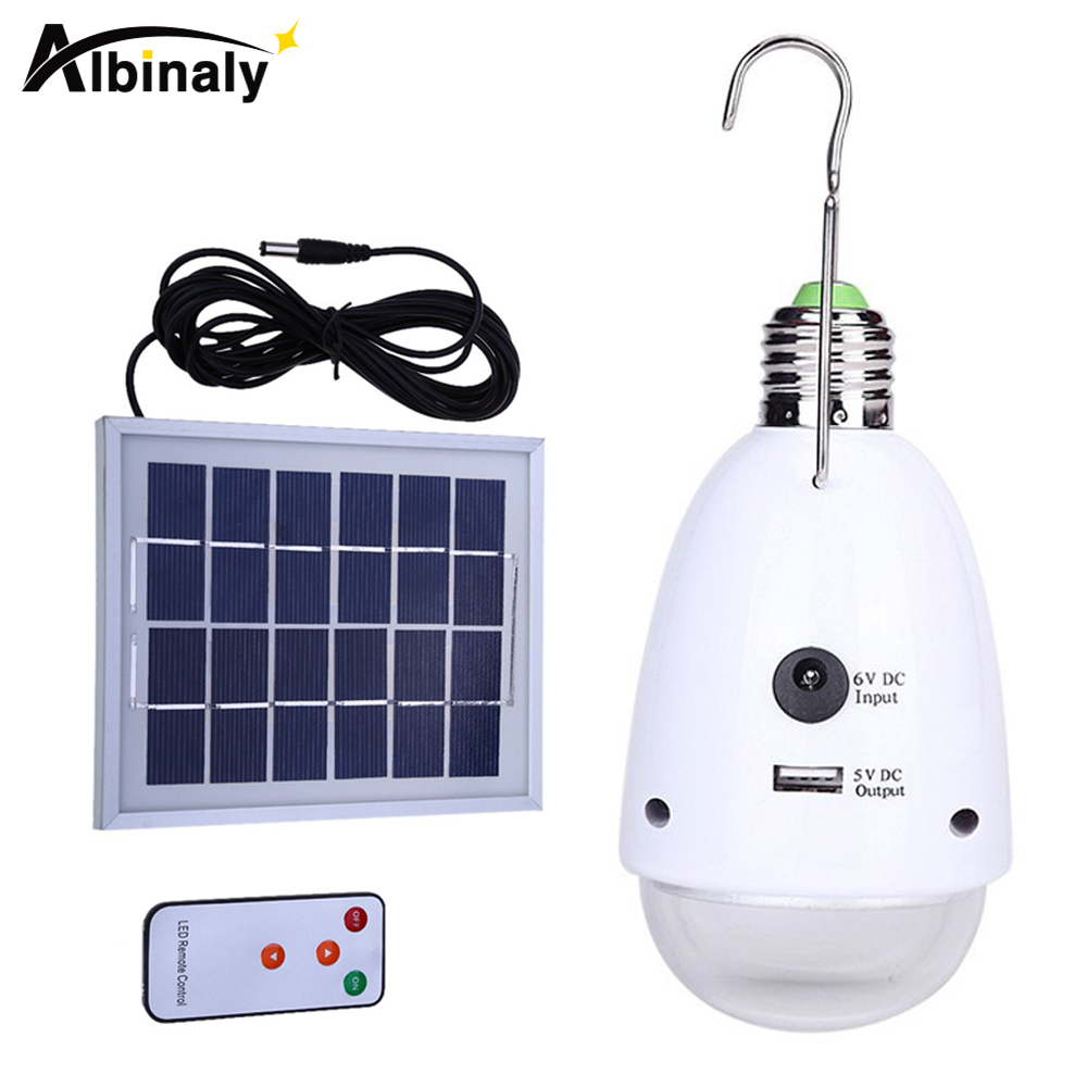 Albinaly indoor lighting Dimmable E27 led solar lamp with remote control AC90~260V/DC6V outdoor lighting solar caping light
