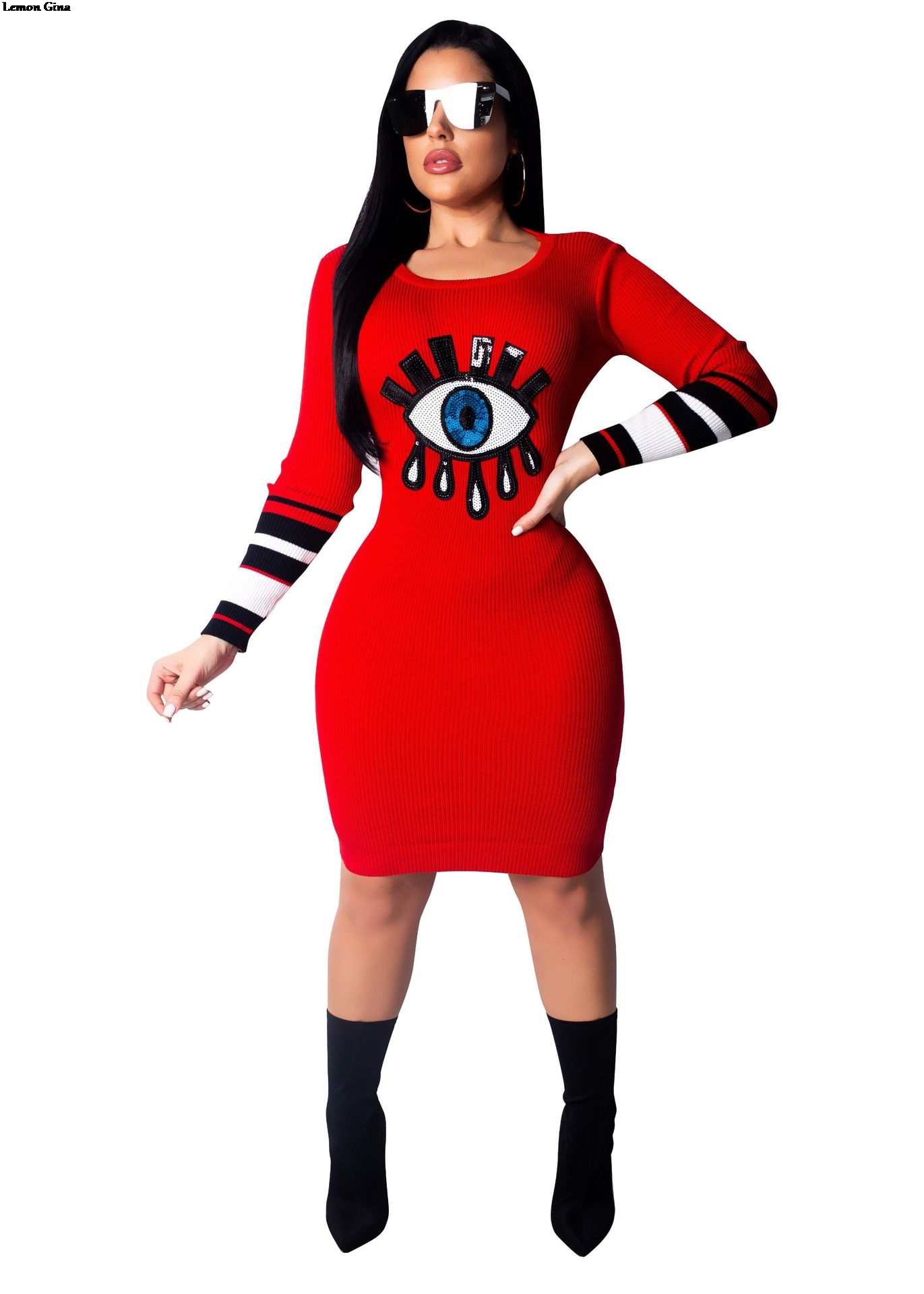 Lemon Gina women long sleeve eye tongue sequined knit o neck sweater midi  knee length dress fashion vestidos black red LGCM304-in Dresses from Women s  ... cf20c21a55ba