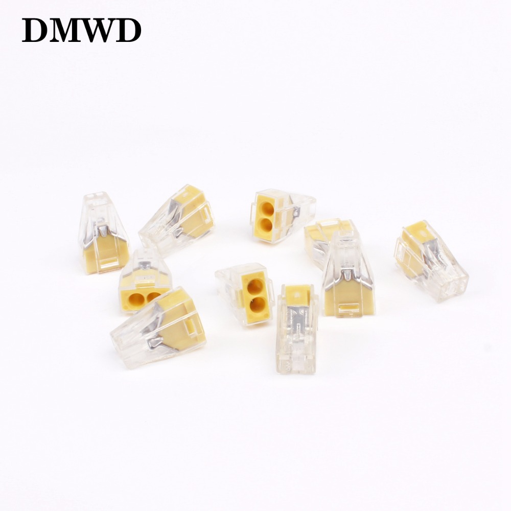 цена на Free shipping 10pcs PCT-102 Push wire wiring connector For Junction box 2 pin conductor terminal block wire connector
