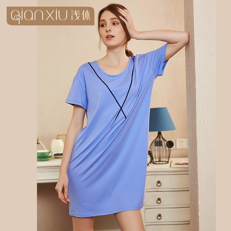 Summer casual nightdress for women solid color   nightgowns     sleepshirts   cotton fresh simple Comfortable Women homewear dress
