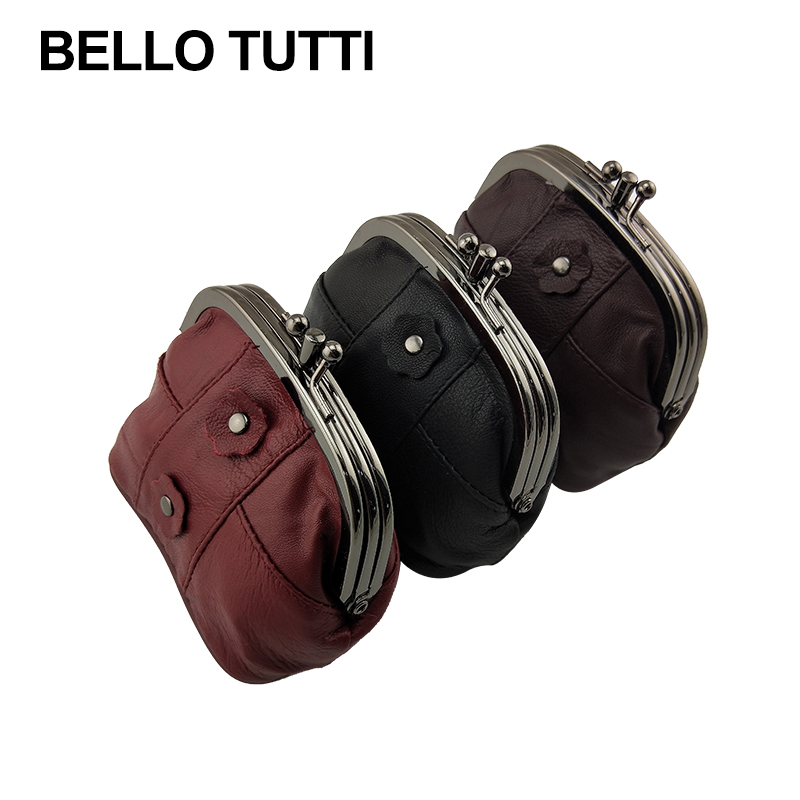 BELLO TUTTI New Leather Coin Purse Women Small Wallets Original Genuine Sheepskin Change Purse Card Holder Coin Wallet Purse